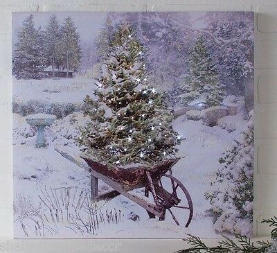 Christmas Tree in Wheel Barrow Lighted Picture Radiance Canvas ohwnrc x46919 NEW