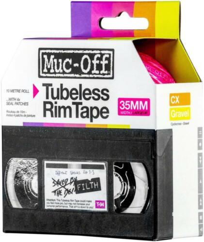 Muc-Off Tubeless Rim Tape 10m Length Roll 35mm Width Adhesive Semi Transparent