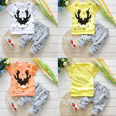 Boys Girls Clothes Sets T-Shirt Tops Short Sleeve + Pants Outfits Kids Sets 1-7Y