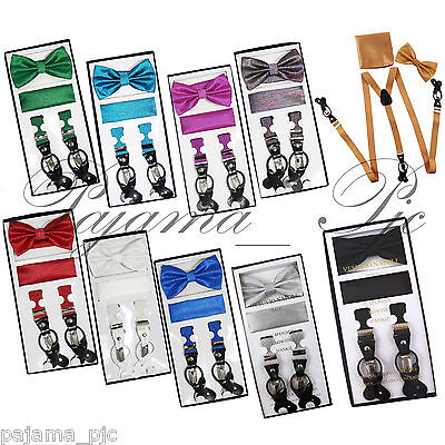 New in box Men/'s Convertible Elastic glitter fuchsia Suspender/_Bowtie Hankie