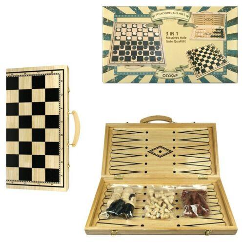 Nardy massives Holz Spielbrett 40 х 40 см 3 in 1 Schach Damen Backgammonspiel
