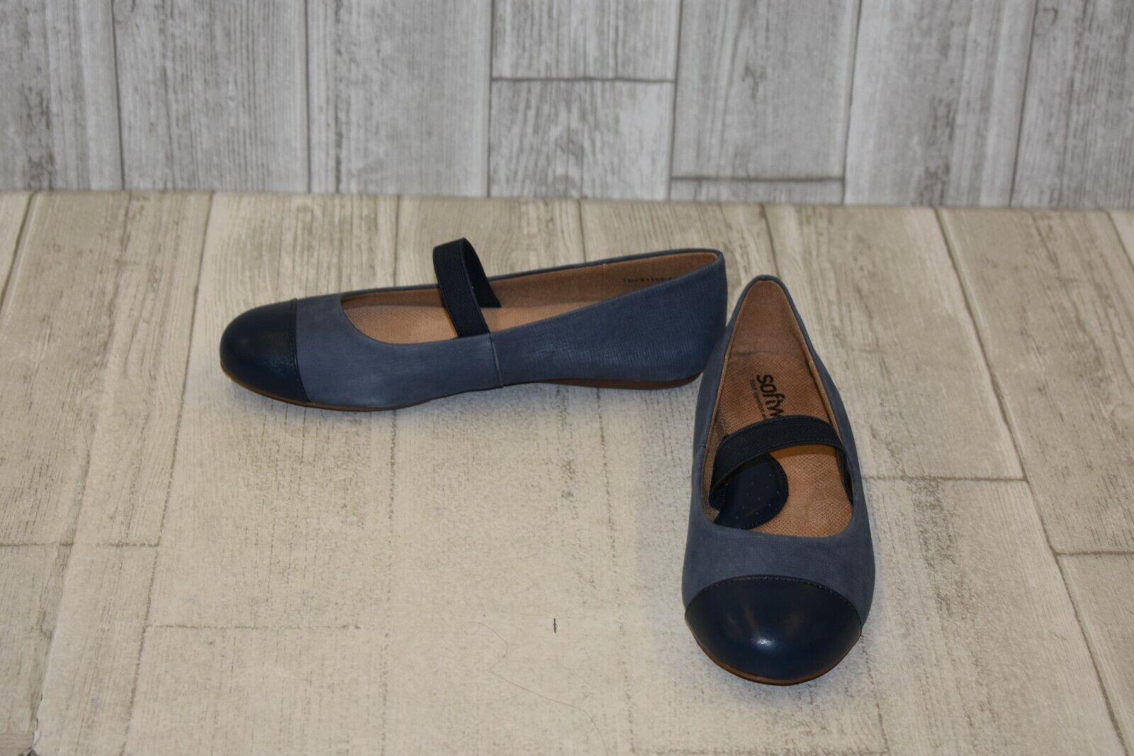 SoftWalk Women's Napa Mary Jane Flat - Denim Jeans Dark bluee - Size 7.5 M