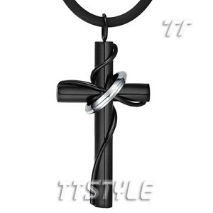 Quality tt 316l black stainless steel cross pendant necklace np258d image is loading quality tt 316l black stainless steel cross pendant aloadofball Choice Image