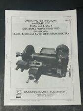 Fmc Barret B 546 Disc Brake Cross Feed Brake Lathe Operating Parts Manual B 400