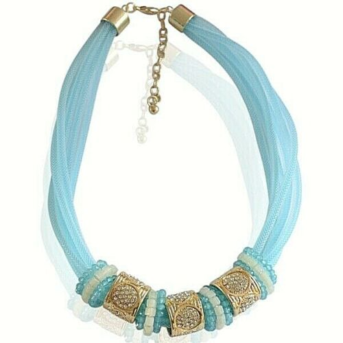 Trendy Short Ice  blue  necklace with rhinestones and beads