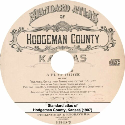 Kansas {1907} KS History Genealogy Maps CD Atlas /& Plat Book of Hodgeman County