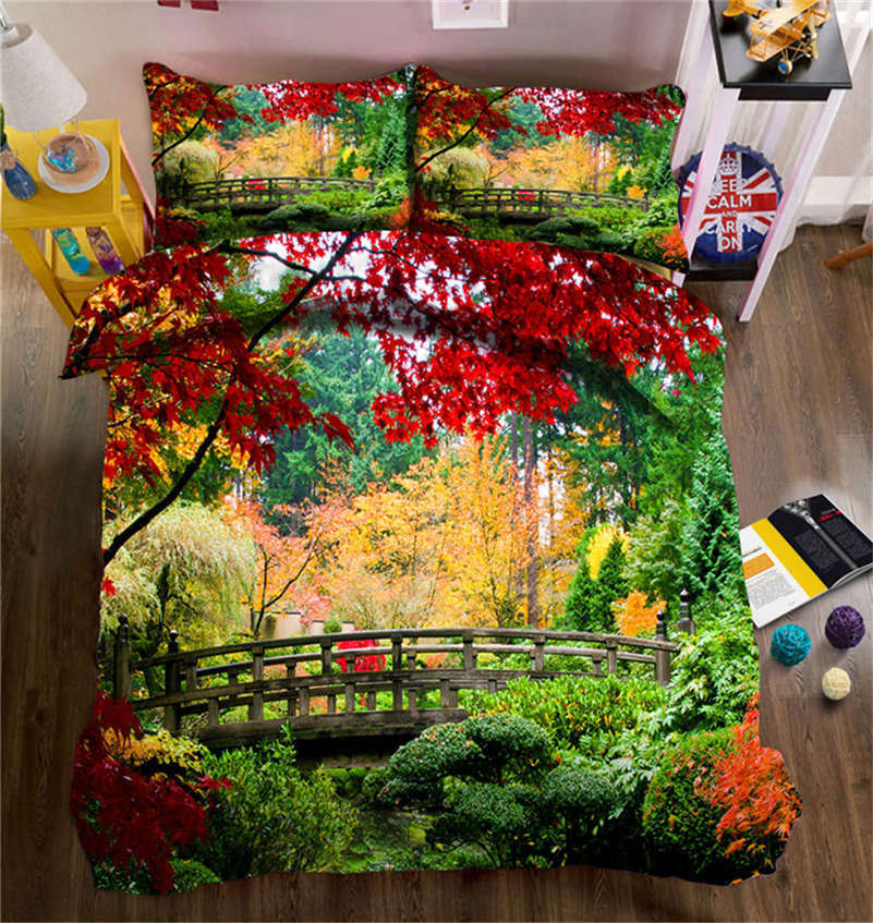 Late Autumn Bridge 3D Druckening Duvet Quilt Will Startseites Pillow Case Bettding Sets