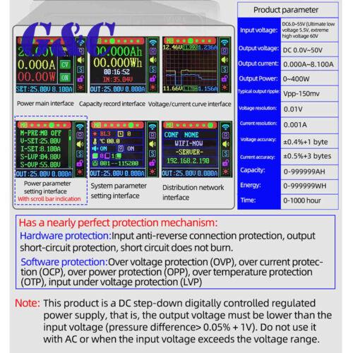 400W 8A DC-DC Buck Converter CC CV 0-50V Adjustable Regulated Power Supply