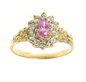 Pink-Topaz-Ring-Yellow-Gold-Engagement-Cluster-Solid-Gold-Hallmarked-size-F-V