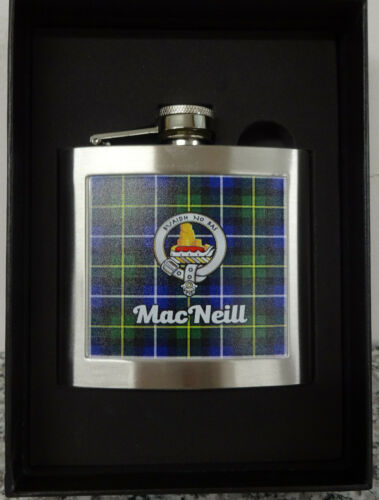 Hip Flask Scottish Clan MacNeill 5oz In Presentation Box Made in the UK