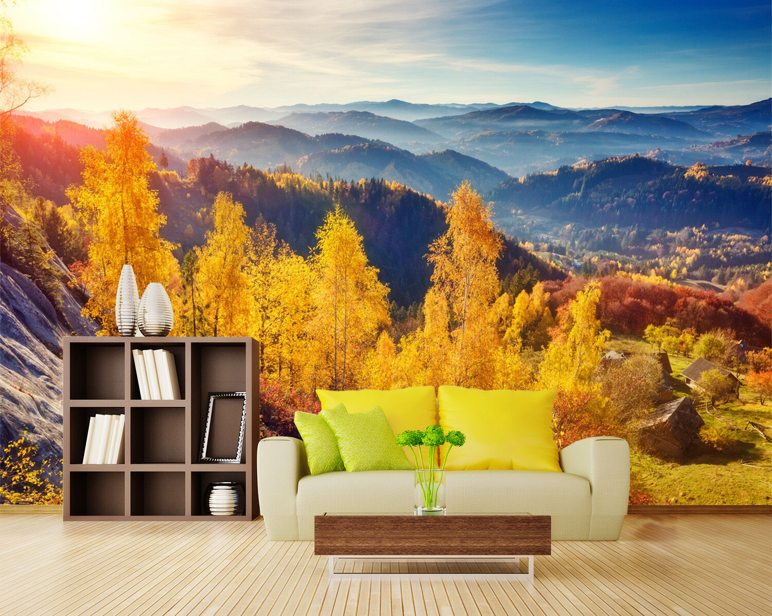 3D vast forest tree autumn Wall Paper Print Decal Wall Deco Indoor wall Mural