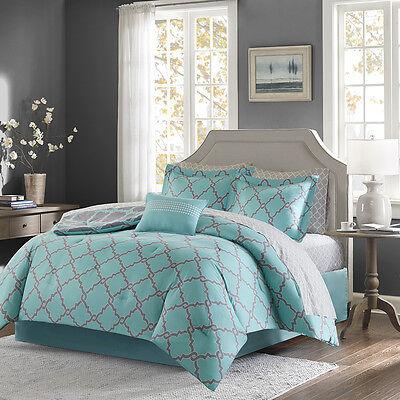 BEAUTIFUL MODERN REVERSIBLE TEAL BLUE AQUA BED IN A BAG COMFORTER SET /& SHEETS