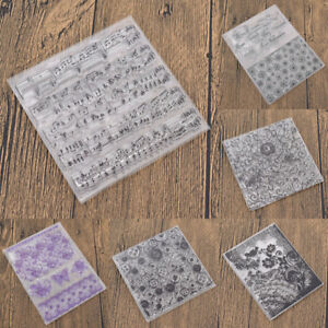 Clear-Stamp-Motivstempel-Schoen-Blume-Wort-Musik-Lace-Silikon-Stempel-DIY-Stemel