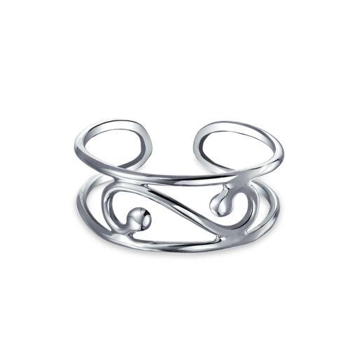 Imploré Swirl ajourées filigrane Midi Wide Band Toe Ring silver sterling réglable