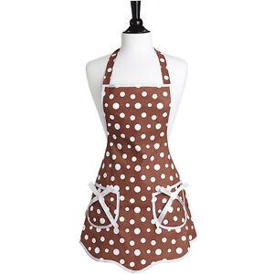 New-JESSIE-STEELE-Vintage-Style-Apron-RETRO-POLKA-DOTS-100-Cotton-BROWN-WHITE