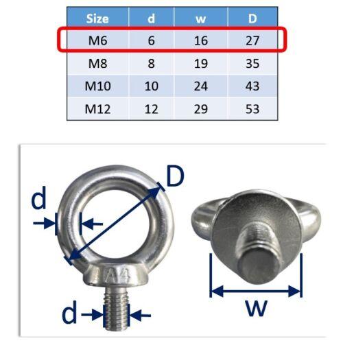 Rigging LOOP 316 PONTE Sollevamento Occhio Bullone in acciaio inox A4 marine-grade