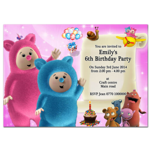 i068; Baby tv Billy Bam Bam /& Cuddlies; Personalised invitations; Any age name