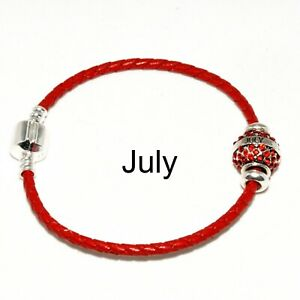 Leather Bracelet with Pave Birthday Month Charm January 925 Silver Clip