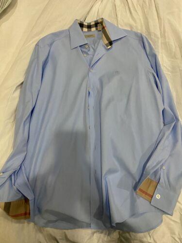 Burberry Light Baby Blue Brit Long Sleeve Button D