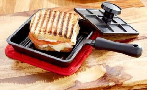 Cast Iron Panini Press Durable Sandwich Maker Easy to Use On Stove or Grill