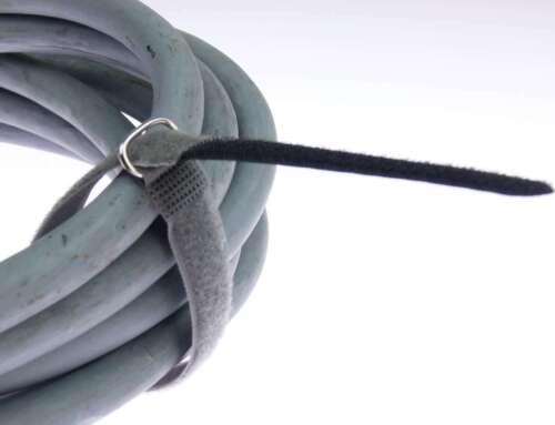 40x Kabelklett 300 x 20 mm schwarz FK Klett Band Kabelbinder Klettbänder mit Öse