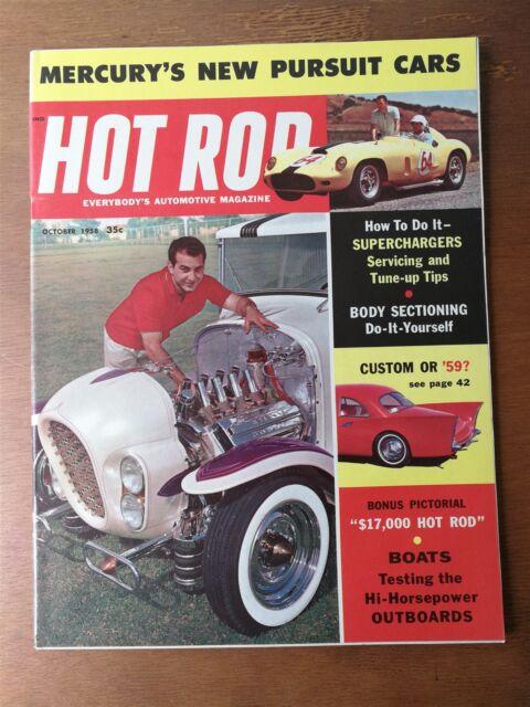 Hot Rod Magazine October 1958 Mercury - Superchargers - Half Pint Hot Rods Boats