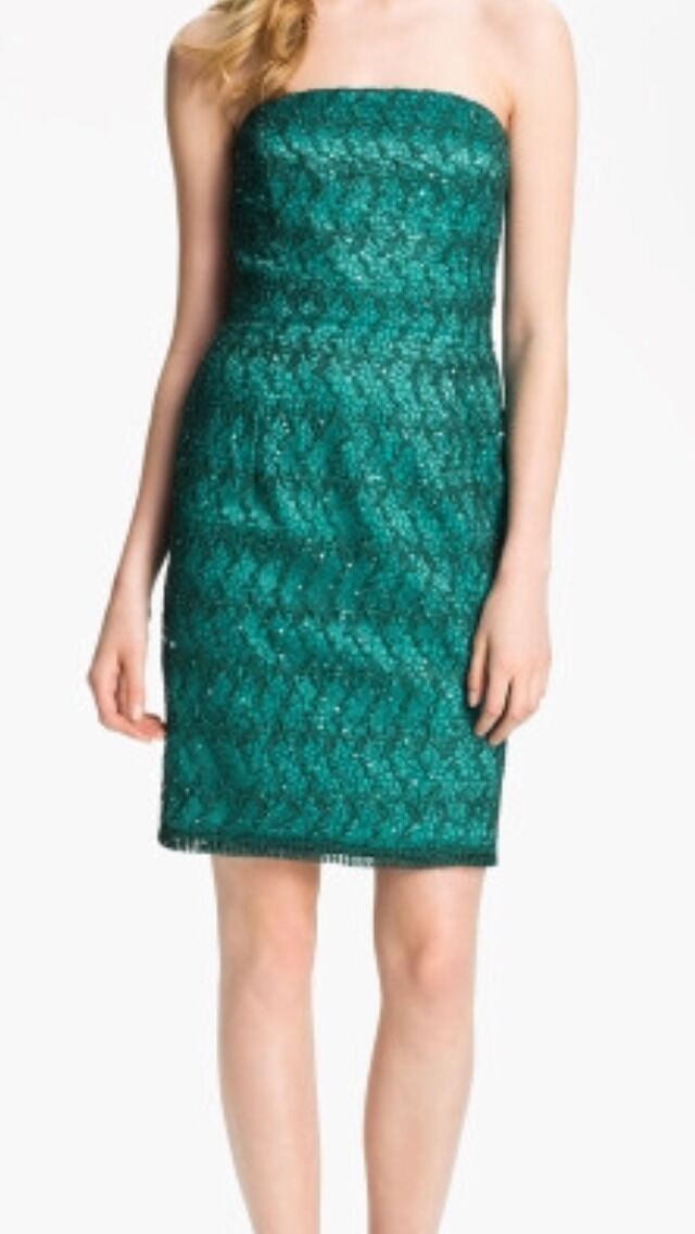 Adrianna Papell Women's Dress Ocean Green Lace & Sequin Clubwear Size 8 NWT  198