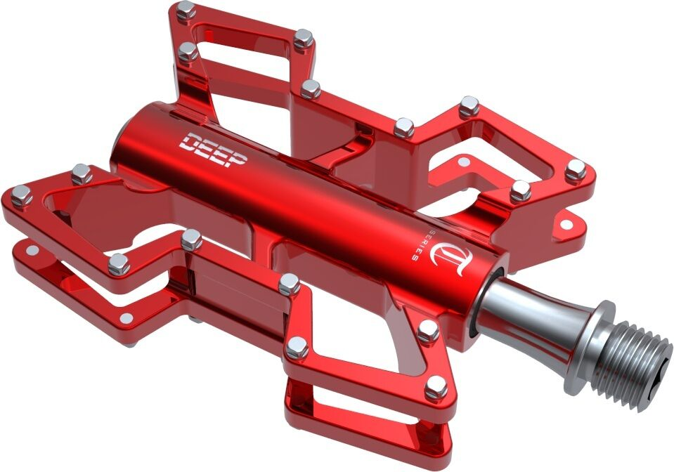Gobike88 DEEP T1C Light Weight Alloy Pedals for Trail, 310g pair, Red, E79