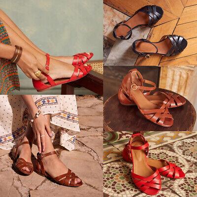 Women Flat Sandals Woven Open Toe Ankle Buckle Roman Boho Summer Shoes Size 4 8 | eBay