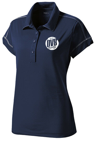 DV8 Women's Grudge Performance Polo Bowling Shirt Dri-Fit Navy