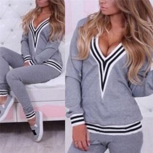 Women Casual Sweatshirt Tops+Pants Fad Tracksuit Set 2Pcs Outfit Sport Suit TK