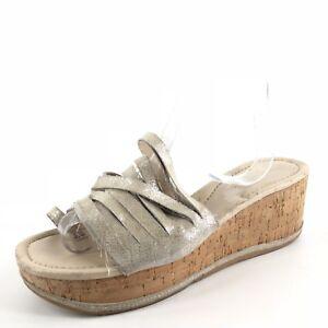 8c2e1a076ea Donald J Pliner Sheena2 Platinum Strappy Cork Wedge Sandals Women s ...