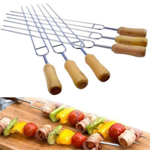 6x Wood Handle U BBQ Roast Needle Skewers Stainless Steel Fork Camping Forks QP