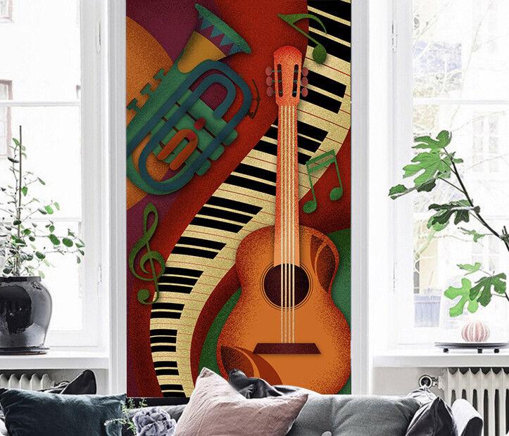 3D Piano Guitar 801 Wallpaper Mural Wall Print Wall Wallpaper Murals US Lemon