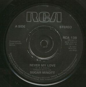 SUGAR-MINOTT-never-my-love-jasmine-RCA138-uk-rca-1981-7-WS-EX