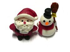 Set of 2 Santa Clus and Snowman Christmas Dollhouse Miniatures Clay Figurine