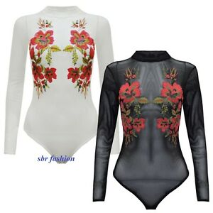 WOMEN-LADIES-TURTLE-HIGH-NECK-SHEER-FLORAL-LONG-SLEEVE-MESH-BODYSUIT-LEOTARD-TOP