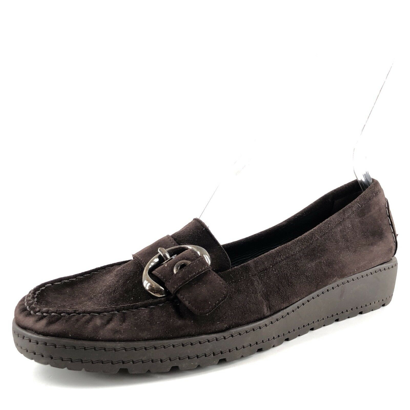 Stuart Weitzman Brown Suede Wedge Buckle Loafers Donna Size 11 M