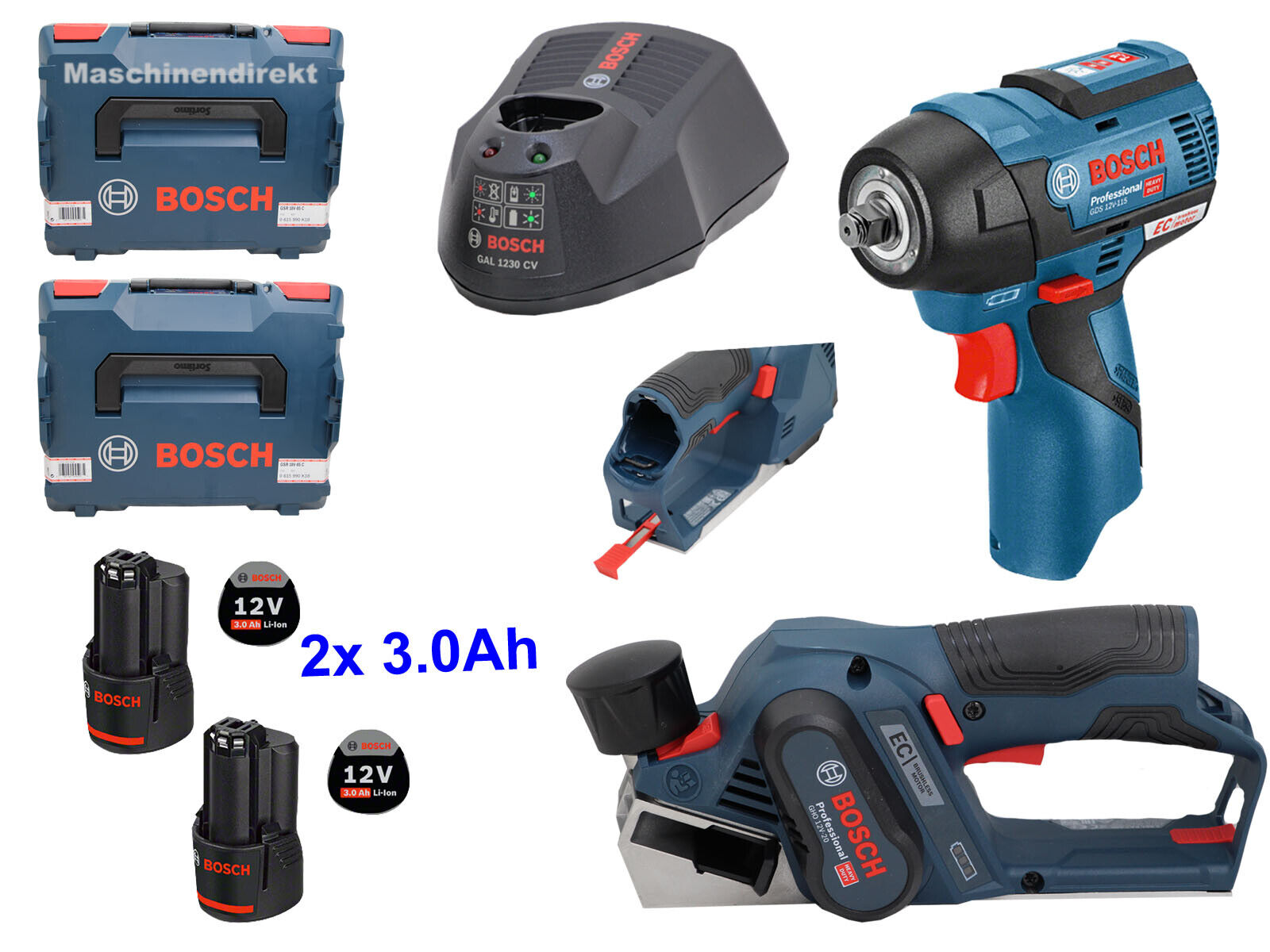 Bosch  Akku Drehschlagschrauber GDS 12V-115 + Akku Hobel GHO 12V-20 + 2x 3.0Ah