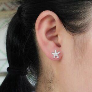 Damen-Ohrringe-Ohrstecker-925-Silber-Diamantiert-Seestern-Meer-Strand