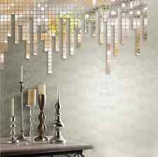 100pcs 2x2cm Silver 3D Wall Sticker Mosaic Mirror Sofa Living Room Decor Art Hot