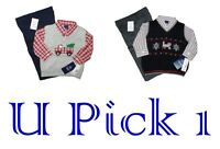 Shirt Pants Vest Boys 3 Pc Set Dress Up Outfit Suit Sweater Holiday Train Fire T