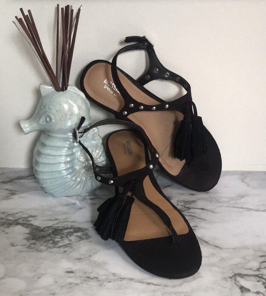 Mossimo Black Suede Sandals Tassel Sandals Suede Sz 6.5 41b975