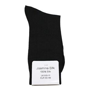 Jasmine-Silk-3-Paar-Herren-100-Seide-Socken-Abend-Thermo-Socken-Schwarz