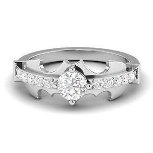 1 25ct White Round Diamond Batman Engagement Wedding 925 Sterling