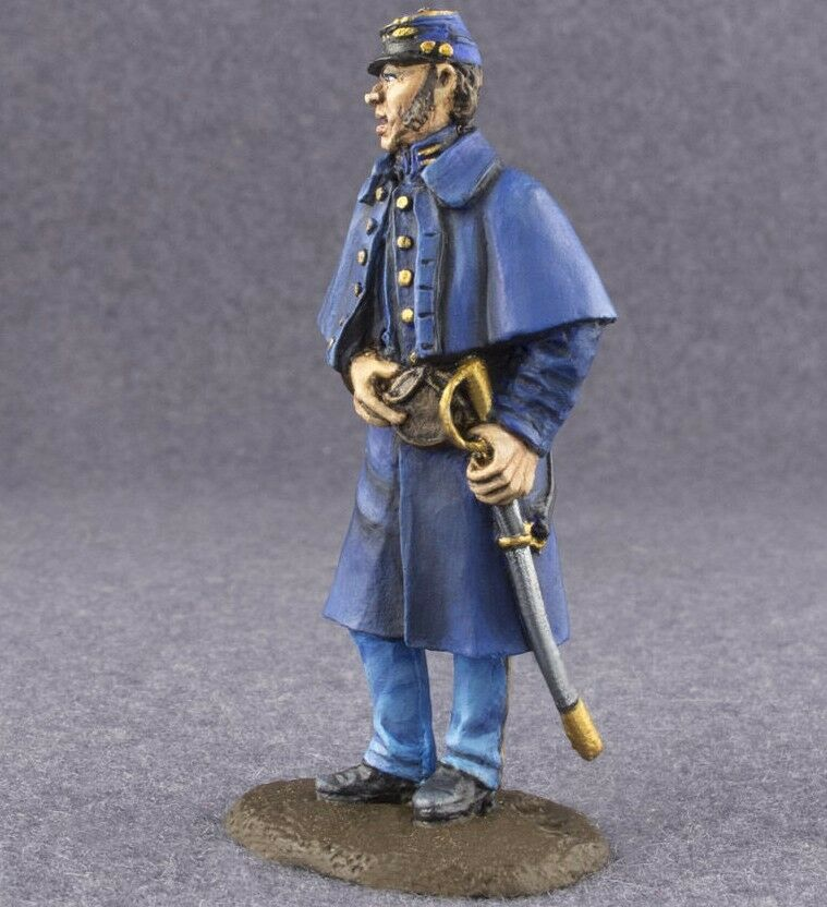 Tin Toy Soldier Civil War 1 32 Federal Cavalry Officer Hand Painted Antique 54mm