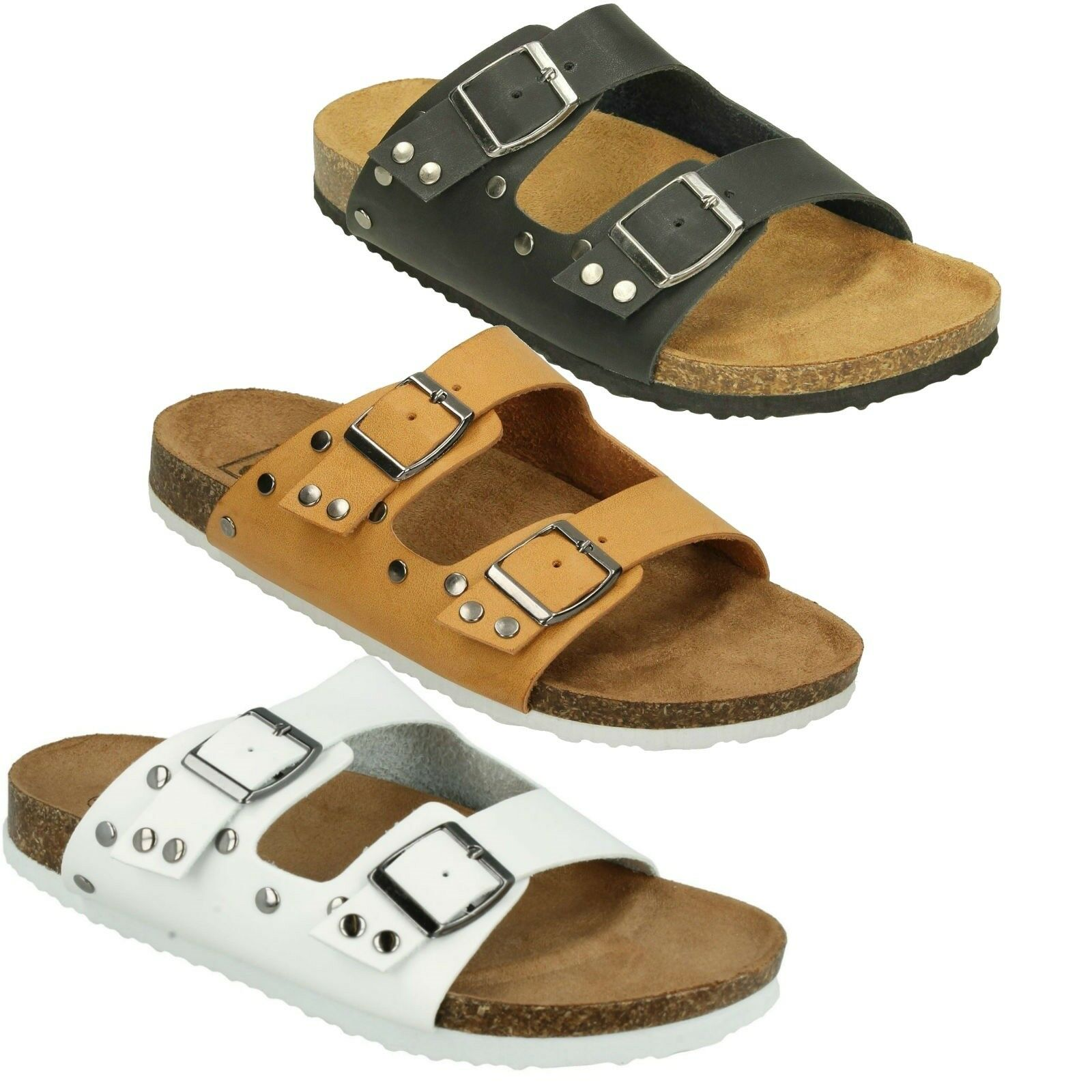 F0R0049 DOWN TO EARTH STRAP LADIES OPEN TOE BUCKLE STRAP EARTH SUMMER BEACH SANDALS SIZES 3f4495