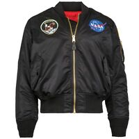 Alpha Industries Ma-1 Nasa Apollo Flight Jacket Black Nylon Ma1 Mjm21097c1