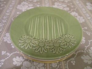 Pottery-by-Kathy-Phillips-8-034-Salad-Plates-Sun-Flower-Accents-4pcs