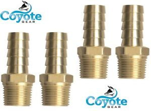 """1//2/"""" NPT Male Threads x 3//4/"""" Hose Barb Brass Straight Fitting Coyote Gear"""